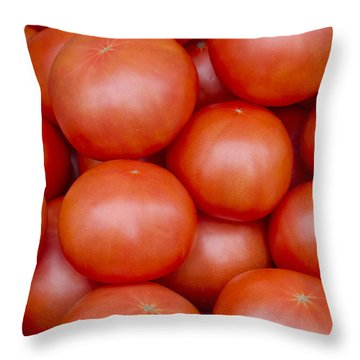 Red Ripe Tomatoes Throw Pillow by John Trax