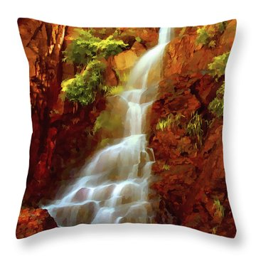 Throw Pillow featuring the painting Red River Falls by Peter Piatt