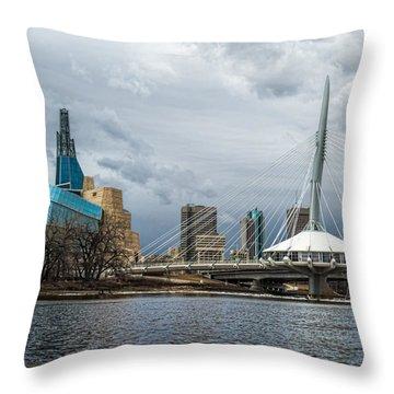 Red River At Winnipeg Throw Pillow