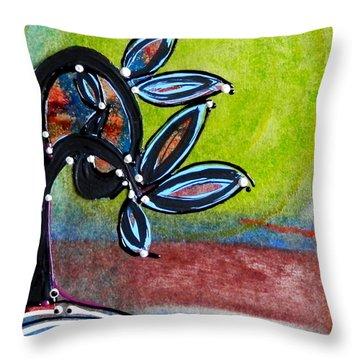 Red River Blossoms Throw Pillow