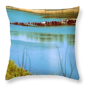 Throw Pillow featuring the photograph Red River Crossing Old Bridge by Diana Mary Sharpton
