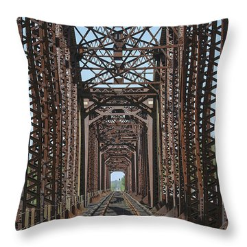 Red River Railroad Bridge Throw Pillow by D Wallace