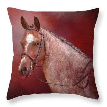 Red Roan Throw Pillow