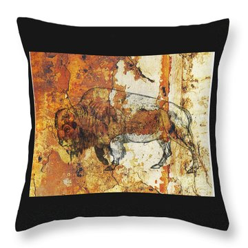 Throw Pillow featuring the photograph Red Rock Bison by Larry Campbell