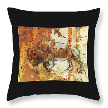 Red Rock Bison Throw Pillow