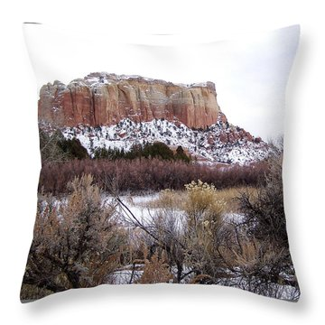 Red Rock Butte In Snow Throw Pillow