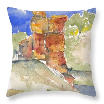 Throw Pillow featuring the painting Red Rock  Canyon by Anne Duke