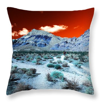 Throw Pillow featuring the photograph Red Rock Canyon Hike Pop Art by John Rizzuto