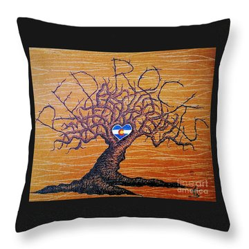 Throw Pillow featuring the drawing Red Rock Colorado Love Tree by Aaron Bombalicki