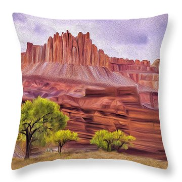 Red Rock Cougar Throw Pillow