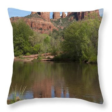 Red Rock Crossing In Sedona Throw Pillow by Sandra Bronstein