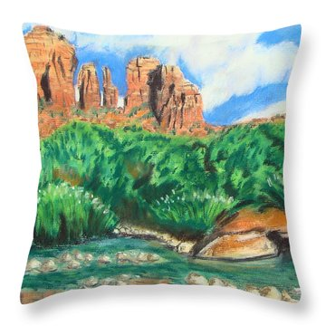 Red Rock Crossing Throw Pillow
