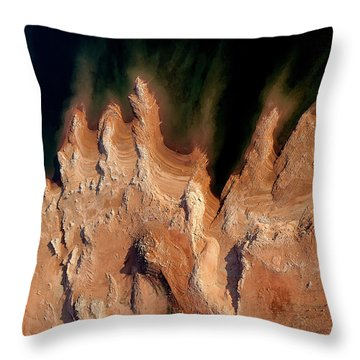 Red Rock Feathers Throw Pillow