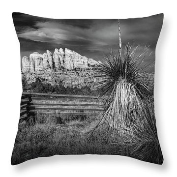 Throw Pillow featuring the photograph Red Rock Formation In Sedona Arizona In Black And White by Randall Nyhof