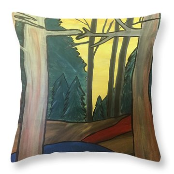Red Rock In Woods Throw Pillow
