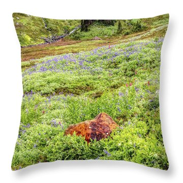 Red Rock Of Rainier Throw Pillow