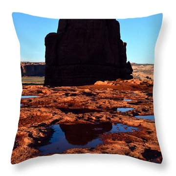 Red Rock Reflection At Sunset Throw Pillow