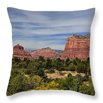 Red Rock Scenic Drive Throw Pillow by John Gilbert