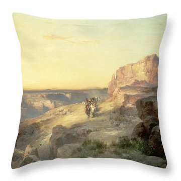 Red Rock Trail Throw Pillow by Thomas Moran