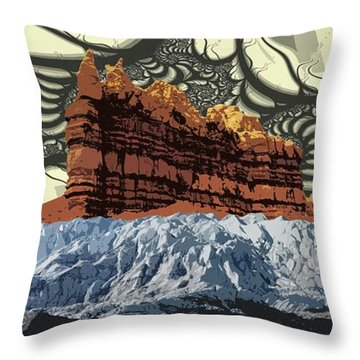 Red Rock White Ice Throw Pillow by Ron Bissett