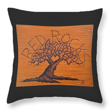Throw Pillow featuring the drawing Red Rocks Love Tree by Aaron Bombalicki
