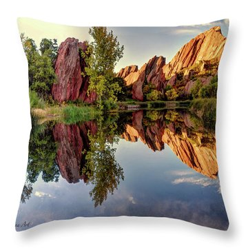 Red Rocks Reflection Throw Pillow