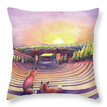Foxes At Red Rocks Sunrise Throw Pillow