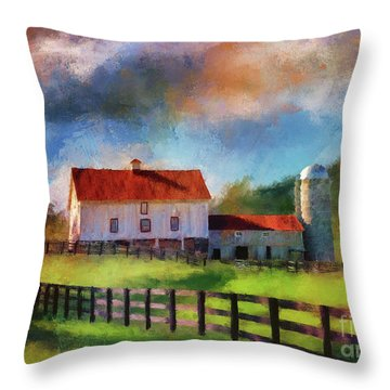 Throw Pillow featuring the digital art Red Roof Barn by Lois Bryan