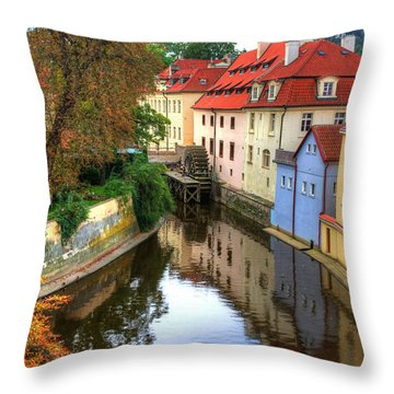 Red Roofs Of Prague Throw Pillow by Jay Lee