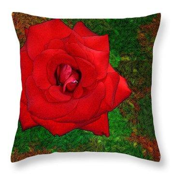 Red Rose 2 Throw Pillow by Jean Bernard Roussilhe