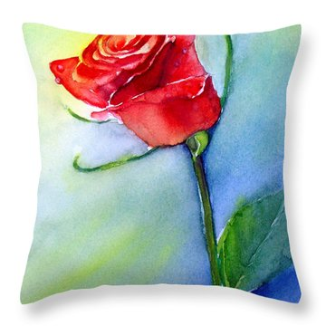 Red Rose Throw Pillow by Allison Ashton