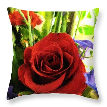 Red Rose And Flowers Throw Pillow