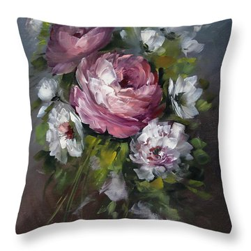 Red Rose And White Peony Throw Pillow by David Jansen