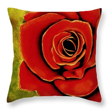 Red Rose Blooms Throw Pillow