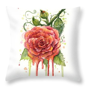 Red Rose Dripping Watercolor  Throw Pillow