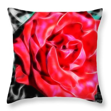 Red Rose Fractal Throw Pillow