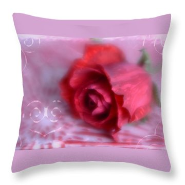 Throw Pillow featuring the photograph Red Rose Love by Diane Alexander