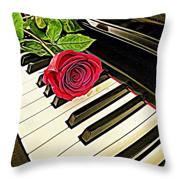 Red Rose On A Piano  Throw Pillow
