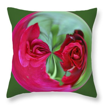 Throw Pillow featuring the photograph Red Rose Orb by Bill Barber