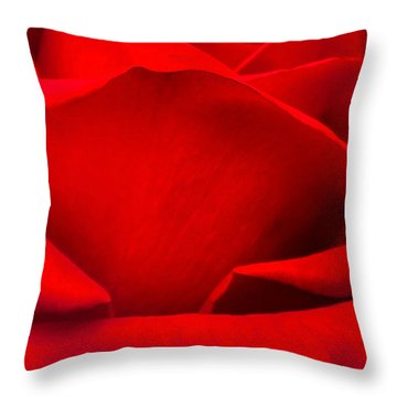 Red Rose Petals Throw Pillow