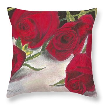 Red Rose Redux Throw Pillow by Arlene Crafton