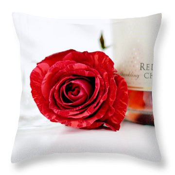 Red Rose With Champagne Throw Pillow