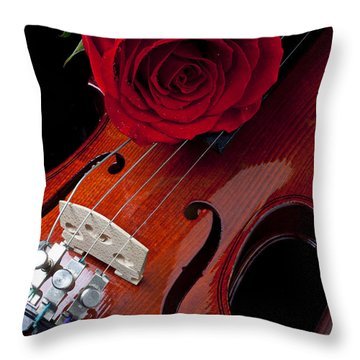 Red Rose With Violin Throw Pillow