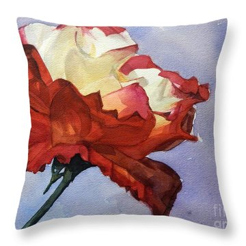 Watercolor Of A Red And White Rose On Blue Field Throw Pillow