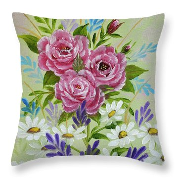 Throw Pillow featuring the painting Red Roses Alla Prima by Jimmie Bartlett