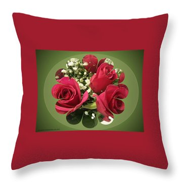 Throw Pillow featuring the digital art Red Roses And Baby's Breath Bouquet by Sonya Nancy Capling-Bacle