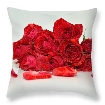 Red Roses And Rose Petals Throw Pillow