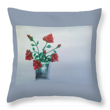 Red Roses In Silver Pot Throw Pillow