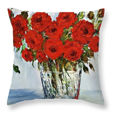 Red Roses Memories Throw Pillow