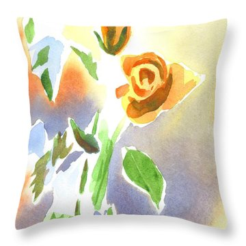 Red Roses With Holly In A Vase Throw Pillow by Kip DeVore